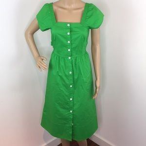 J.Crew Green Fit and Flare Dress